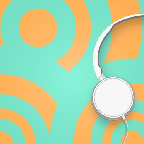 Realistic 3D divided pastel circle coloured headphones with wires vector