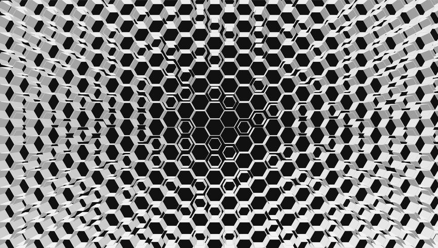 Fondo de tecnología de rejilla hexagonal blanco 3D, ilustración vectorial