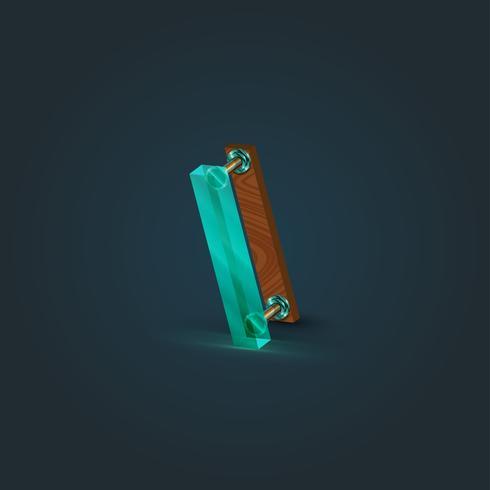 Caractère réaliste de bois et de verre provenant d'un typographe, illustration vectorielle