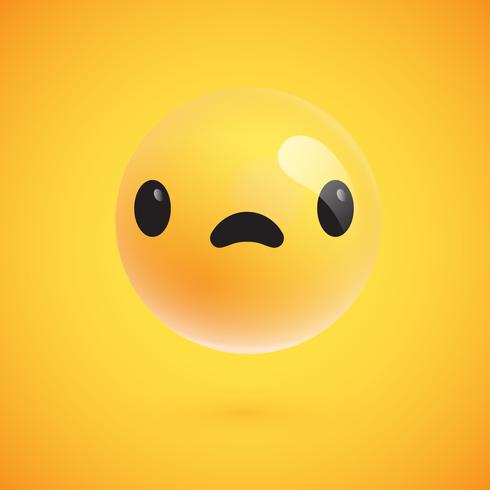 Emoticon giallo alto-dettagliato sveglio per il Web, illustrazione di vettore