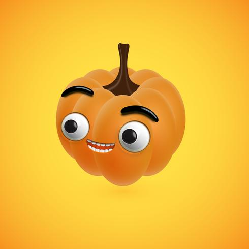 Funny halloween pumpkin face for kids, vector illustration