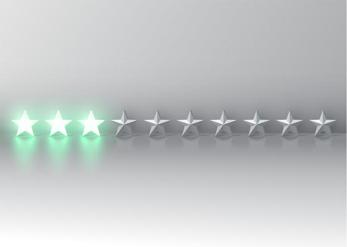 Notation d'étoile 3D rougeoyante, illustration vectorielle
