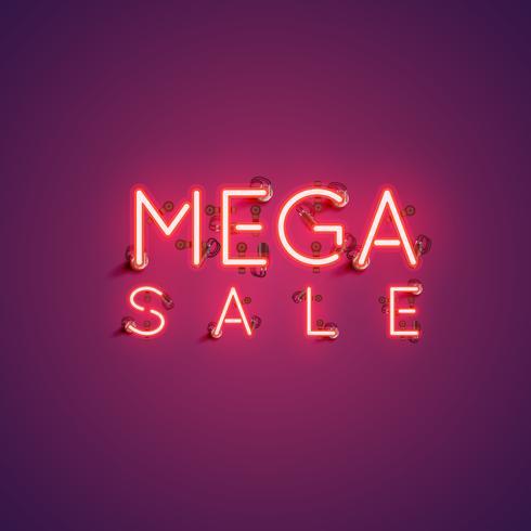 Insegna al neon 'MEGA SALE', illustrazione vettoriale