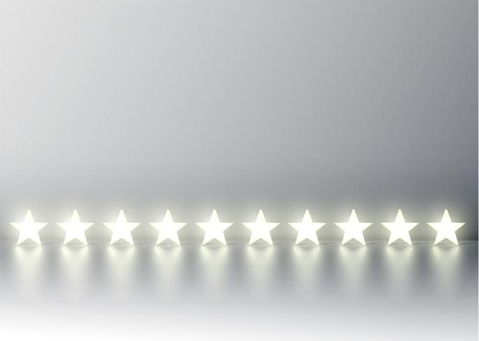 Ten 3D yellow glowing star rating on grey background, vector illustration