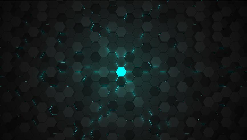Priorità bassa blu di tecnologia di esagono 3D, illustrazione di vettore