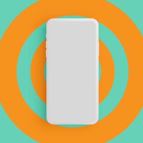 Teléfono gris mate realista con colores de fondo, ilustración vectorial