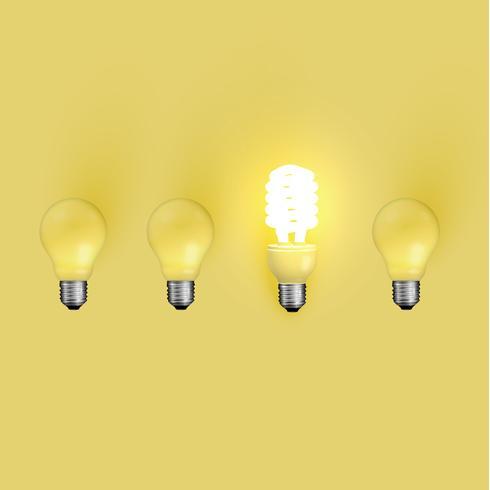 Lâmpada de poupança de energia entre os antigos, ilustração vetorial vetor