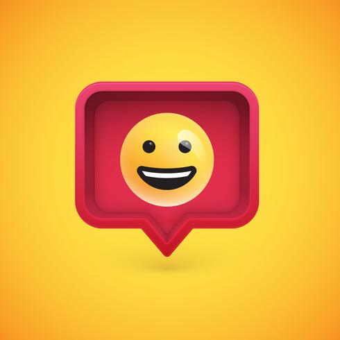 Émoticône 3D drôle dans une bulle de dialogue 3D, illustration vectorielle