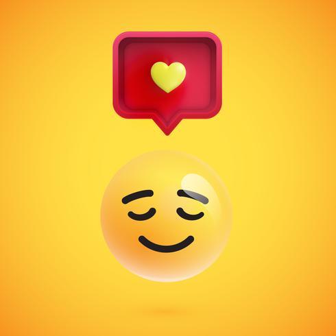 Emoticon 3D engraçado com balão 3D e um coração