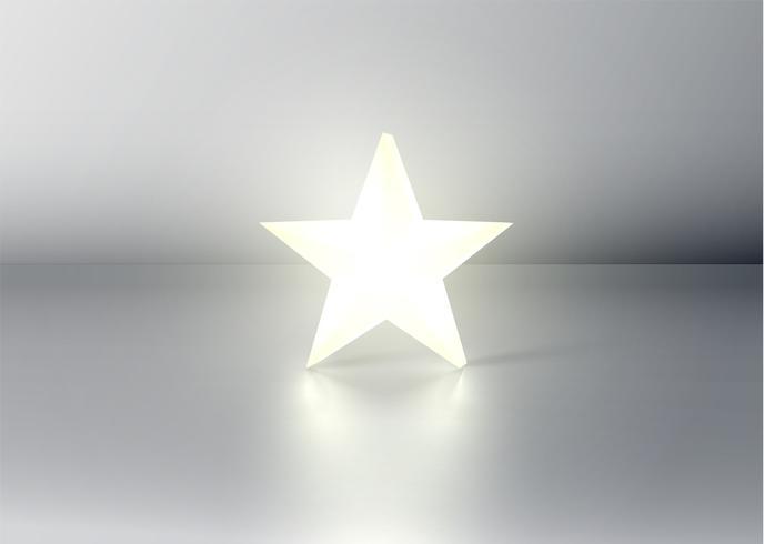 Glödande 3D stjärna på grå bakgrund, vektor illustration