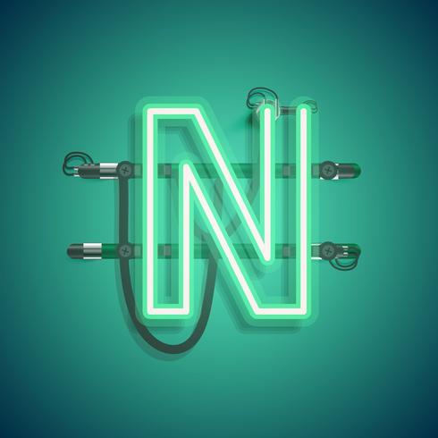 Realistisch neonkarakter met draden en console, vectorillustratie