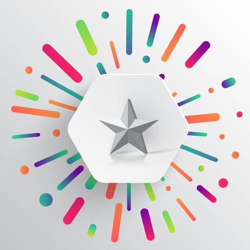 Färgrik och vit mall med en stjärna, vektor illustration