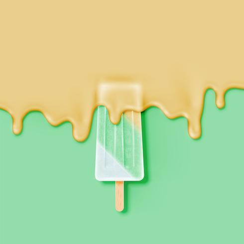 Barra di gelato realistico, con crema di fusione, illustrazione vettoriale