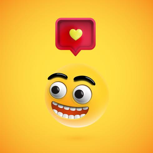 High detailed smiley with 3D heart sign, vector illustration