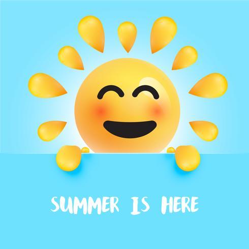 """Rolig sol-smiley med titeln """""""" sommaren är här """", vektor illustration"""