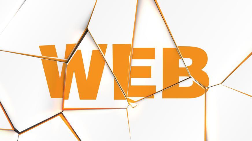 Woord van 'WEB' op een gebroken witte oppervlak, vectorillustratie