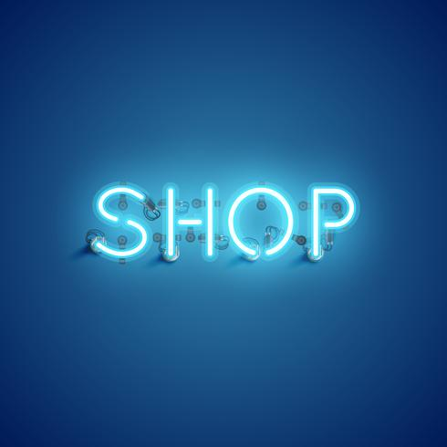 """SHOP"" neon typsnitt teckensnitt, vektor illustration"