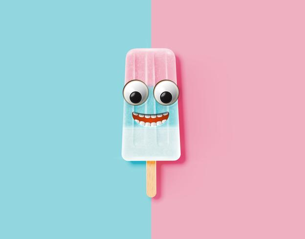 Funny emoticon on realistic icecream illustration, vector illustration
