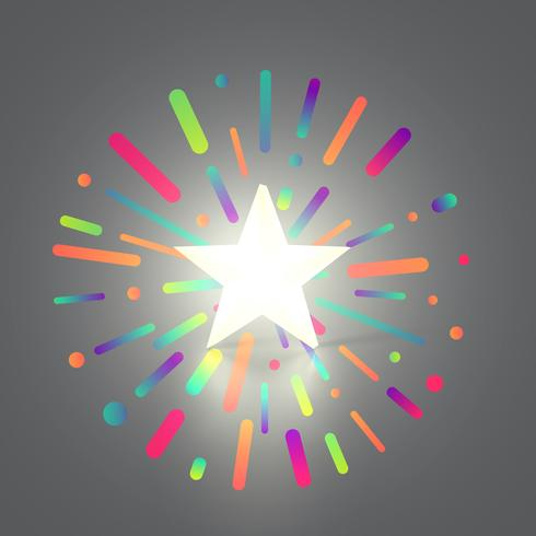 Estrella que brilla intensamente amarilla 3D en el fondo colorido, ejemplo del vector