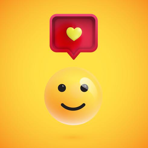 Funny 3D emoticon with 3D speech bubble and a heart