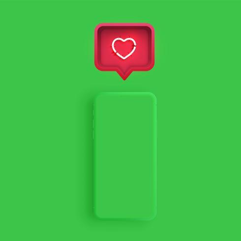 Modelo de smartphone fosco com uma bolha do discurso e um coração de néon dentro, ilustração vetorial