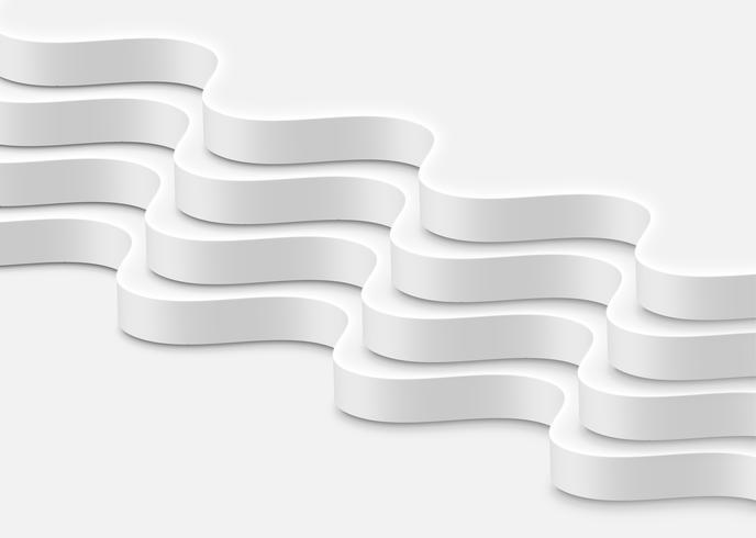 Olas blancas abstractas de alta precisión, ilustración vectorial