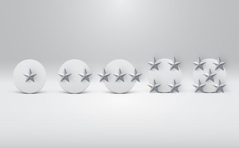 Botones de clasificación de estrellas detallados, ilustración vectorial vector