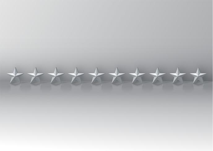Clasificación de cero estrellas con estrellas 3D brillantes, ilustración vectorial