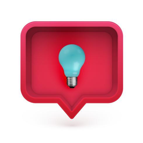 Realistic 3D speech bubble with light bulb in it, vector illustration