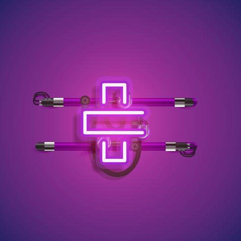 Carácter de neón realista con cables y consola, ilustración vectorial