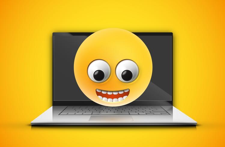 Hoog-gedetailleerde emoticon op het notitieboekjescherm, vectorillustratie