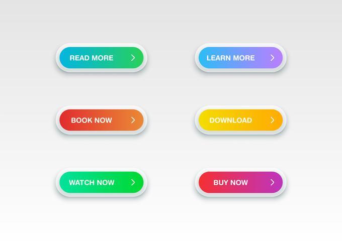 Kleurrijke knop ingesteld voor websites of online gebruik, vectorillustratie