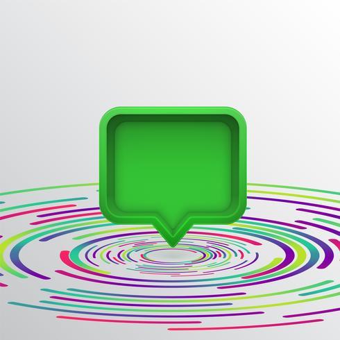 Bocadillo de diálogo realista en 3D con círculos de colores, ilustración vectorial