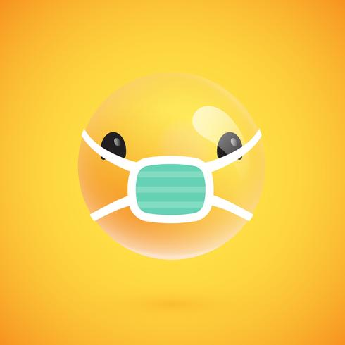Leuke hoog-gedetailleerde gele emoticon voor Web, vectorillustratie
