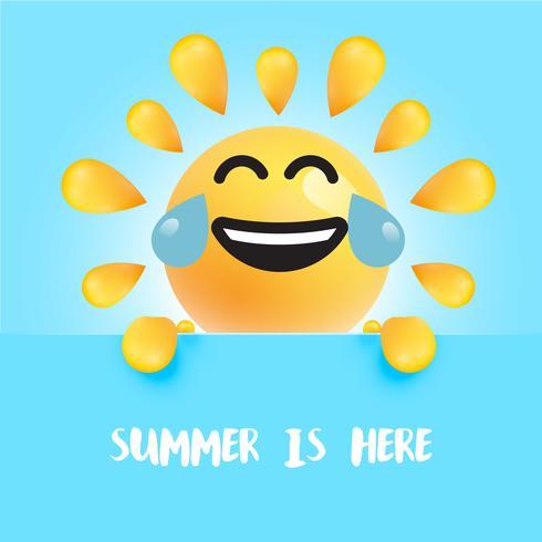 """Smiley-soleil drôle avec le titre """""""" l'été est là """", illustration vectorielle"""
