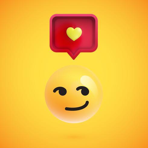 Emoticon divertente 3D con la bolla di discorso 3D e un cuore, illustrazione vettoriale