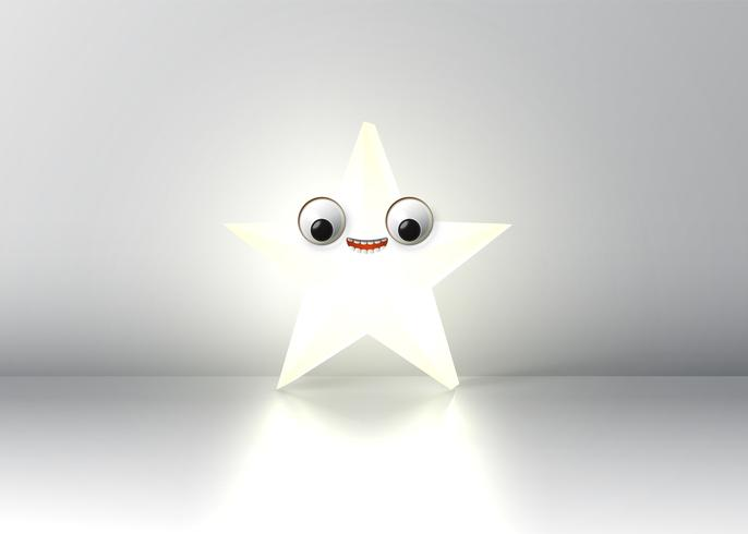 Alta stella di smiley dettagliata, illustrazione vettoriale