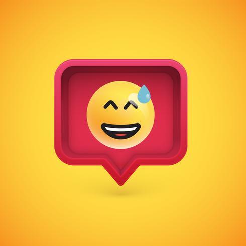 Emoticon divertente 3D in fumetto 3D, illustrazione vettoriale