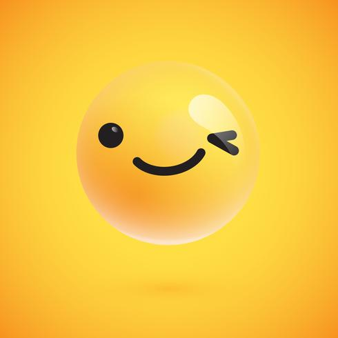Cute high-detailed yellow emoticon for web, vector illustration