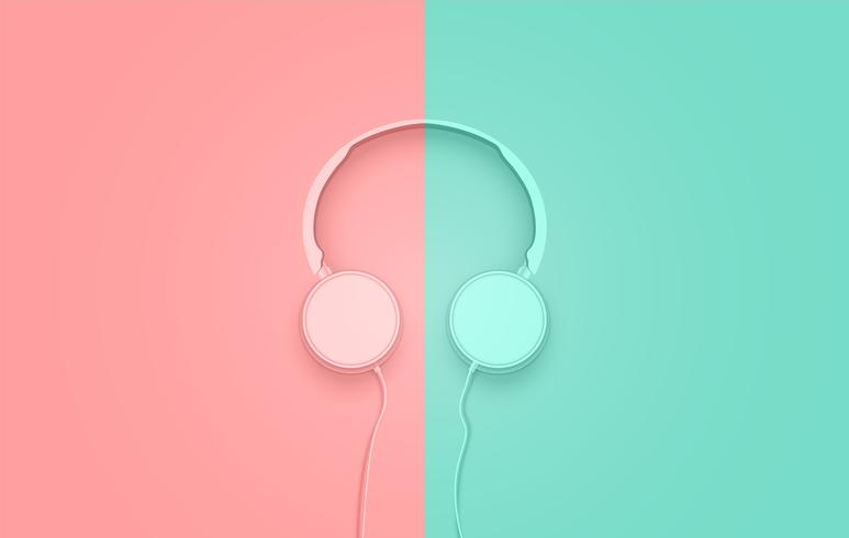Realsitic 3D divided pastel coloured headphones with wires