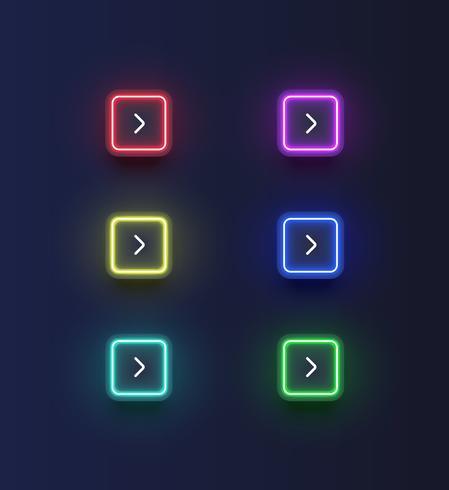 El botón 'siguiente' de neón colorido con una flecha para sitios web o uso en línea, ilustración vectorial vector