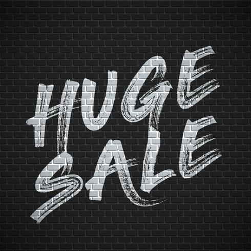 High detailed brick wall with 'HUGE SALE' painting vector illustration