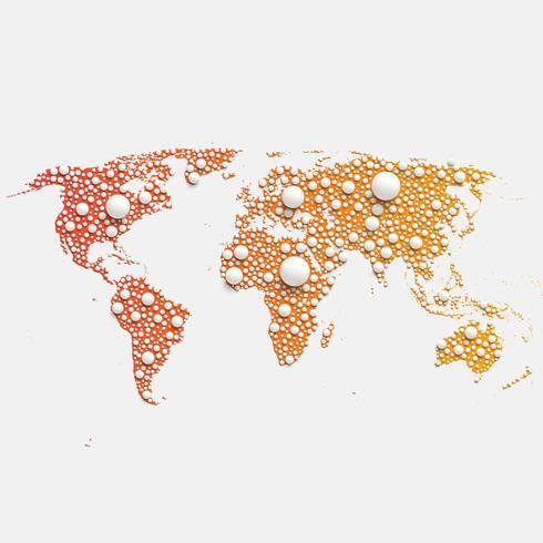 Mapa do mundo colorido feito por bolas e linhas, ilustração vetorial