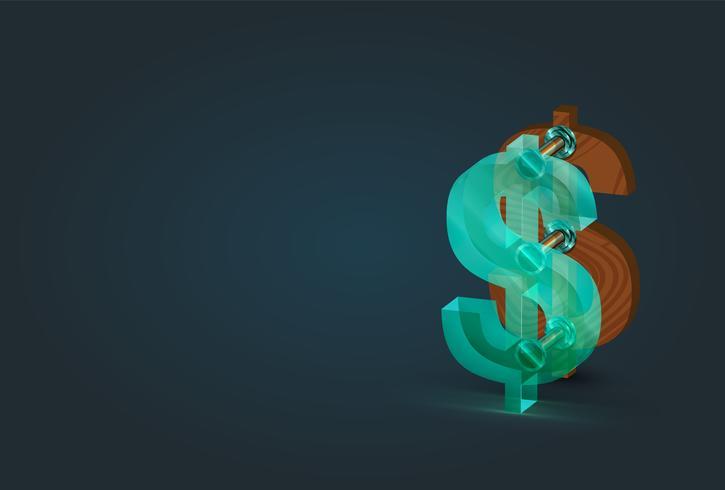 Caráter de dólar madeira e vidro alta detalhado, ilustração vetorial vetor
