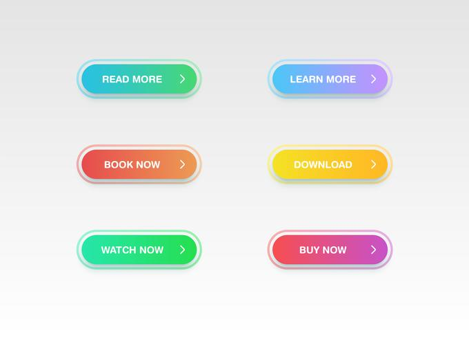 Färgglada knappsats för webbplatser eller online-användning, vektor illustration