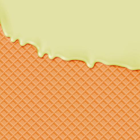Waffle realista com derretimento de sorvete de baunilha, ilustração vetorial