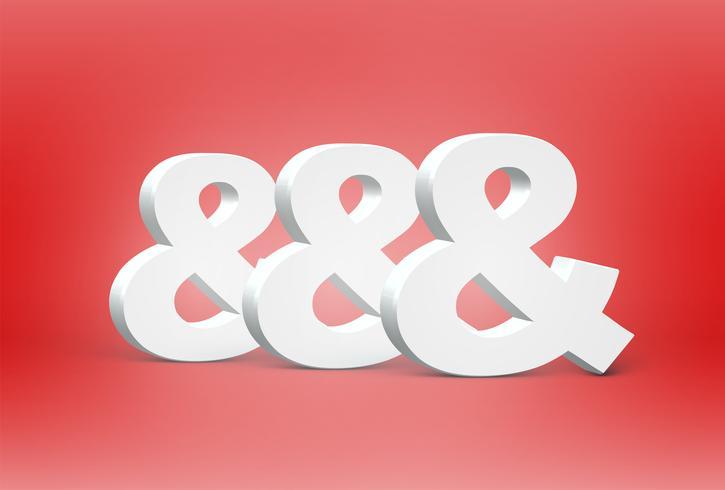 Hoog gedetailleerde 3D-lettertype tekens, vectorillustratie