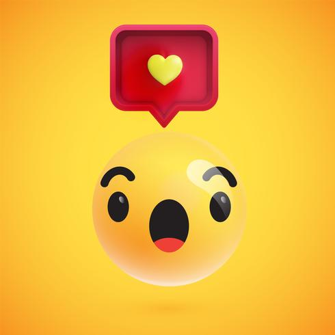 High detailed emoticon with a heart sign, vector illustration