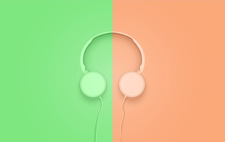 Realistische 3D verdeelde pastelkleurige hoofdtelefoon met draden