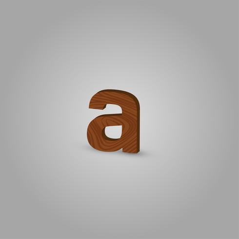 Carácter de madera realista de una ilustración de vector de composición tipográfica